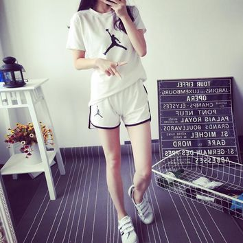 """JORDAN"" Women Sport Casual Pattern Print Short Sleeve Shorts Set Two-Piece Sportswear"