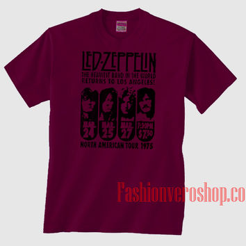 Led Zeppelin LA 1975 Burgundy Unisex adult T shirt