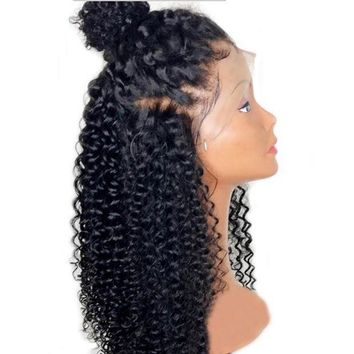 PEAPOK5 DLME African American Wigs Natural Black Wig Glueless Synthetic Lace Front Wig High Temperature Fiber Curly Wigs For Black Women