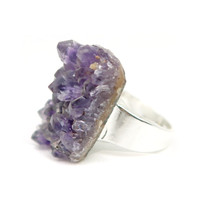 Amethyst Ring 11 - Cluster Purple Chunky Silver (Size 7)