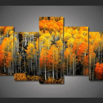 5 Pieces Multi Panel Modern Home Decor Framed Fall Autumn Woods Wall Canvas Art