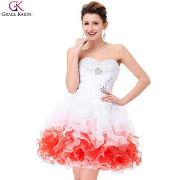 Grace Karin Cocktail Dresses 2017 Sweetheart Strapless Organza Ball Gown Back To School Dress Semi Formal Short Cocktail Dresses