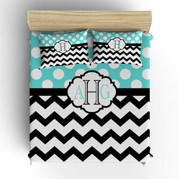 DUVET COVER, BEDDING Comforter, Polka Dot Chevron Pattern, Pillow Sham, Turquoise Aqua Black, Toddler, Twin, Queen, King, Dorm Girl Bedroom