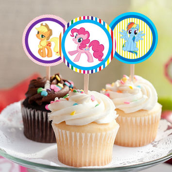 """My Little Pony - Download 2.25"""" Cupcake Toppers, Printable Birthday Party Gift Tags, Toppers, Boy Girl Stickers, Gift Tags"""