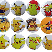 Pokemon Pikachu 1 1/4'' Badge / Button / Pin / Button Set,12-pcs