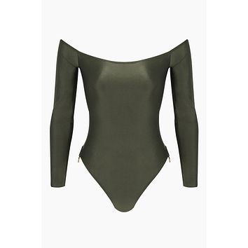 Brazilian Off Shoulder Side Detail One Piece Swimsuit - Olive Green