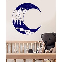 Vinyl Wall Decal Moon Landscape Forest Mountain Art Nature Stickers Unique Gift (1402ig)