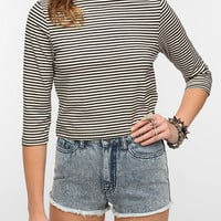 Lucca Couture Striped Mock-Neck Crop Top