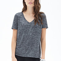 LOVE 21 Marled V-Neck Pocket Tee