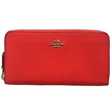 Coach Pebbled Leather Accordion Zip Around Wallet (red/ Silver)