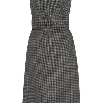 Rochas - Belted herringbone wool-tweed dress