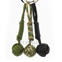 3/Color Security protection B039 Black Monkey Fist Steel Ball Bearing Self Defense Lanyard Survival Key Chain