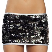 Black and Silver Sequin Skirt : Reflective Holographic Sequin Miniskirt
