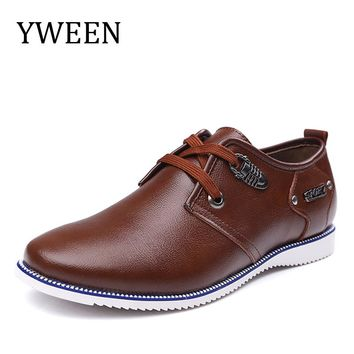YWEEN Brand Men's Casual Shoes Man quality Flat Shoes Split Leather Lace-up Solid Shoes for Man