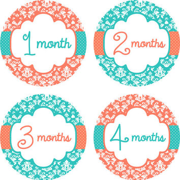 Baby Month Stickers Baby Monthly Stickers Girl Monthly Shirt Stickers Melon Coral Teal Damask Shower Gift Photo Prop Baby Milestone Sticker