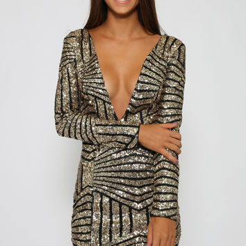 Hustle Me Dress - Gold