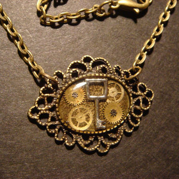 Victorian Stye Steampunk Key with Gears Necklace Set in Ice Resin - Antique Bronze