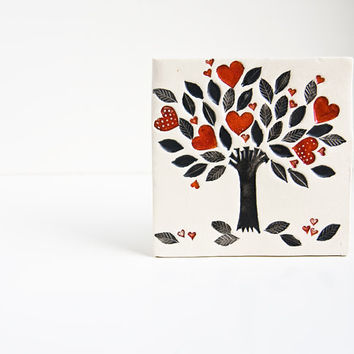 ceramic art tile, wall hanging, Tree of Life home decor. gift for parents, new home, anniversary, wedding, engagement