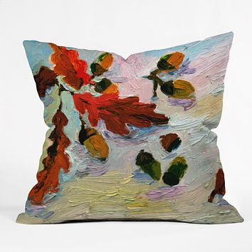 Ginette Fine Art Acorns In The Snow Throw Pillow