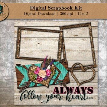 Digital Scrapbook Kit for online scrapbooking - Always follow your heart- Wedding - Valentines Day - 12x12 - 300 dpi - Digital Download