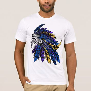 American Native Chieftain head Illustration T-Shirt