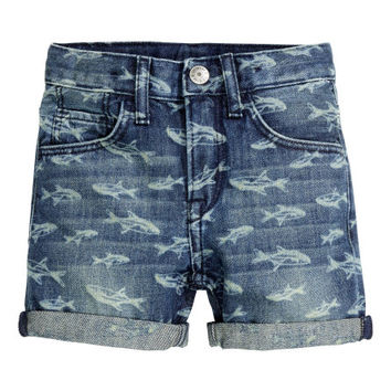 Patterned Denim Shorts - from H&M