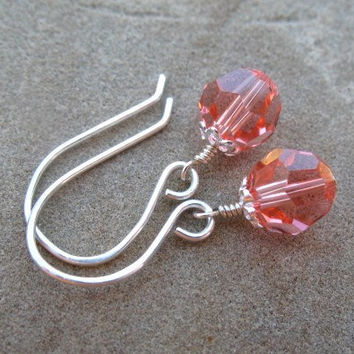 Coral Pink Earrings Sterling Silver Swarovski Crystal Beaded Earrings
