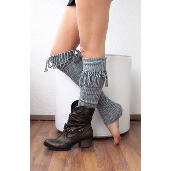 Leg Warmers with tassel, legging. Yoga. Boot cuffs, gray legwarmers, sock