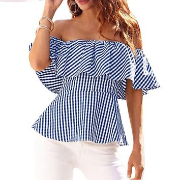 woman Off Shoulder Sexy Waist Summer Womens Blouse Shirt Ruffles Short Sleeve Women tops Femme blusas mujer de moda 2017 Mujer