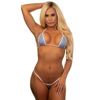 Micro G-String - Mini Blue Stripes - White