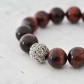 Red Tiger Eye Sterling Silver Bracelet Bold Gemstone Statement Bracelet 12mm Bead Bracelet Chunky Red & Black Striped Bracelet For Her