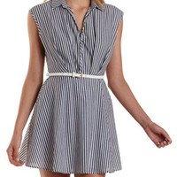Black/White Striped & Collared Skater Dress by Charlotte Russe