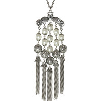 Peacock Tassel Necklace in Silver – bandbcouture.com