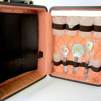 Portable  Personal Travel Bar By Destinations Vintage Pub Kit Liquor Whiskey Retro Mid Century