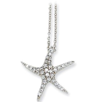 Sterling Silver Cubic Zirconia Starfish Necklace by Cheryl M