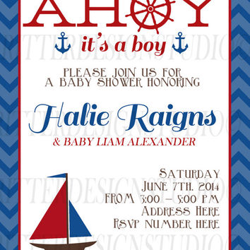 Ahoy It's A Boy Nautical Sailboat Baby Shower Invitation - Digital File