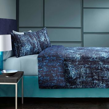 City Scene Grove Hill Abstract 3-pc. Reversible Duvet Cover Set (Blue)