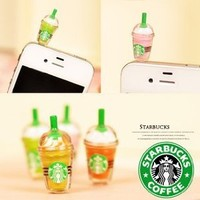 OOOUSE 1 x StarBucks Frappuccino Ice Coffee Cell Phone Charm 3.5mm Anti Dust Earphone Jack Plug iphone 4 4S (No 1)
