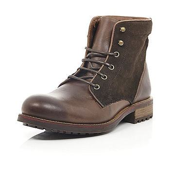 River Island MensBrown burnished suede lace up boots