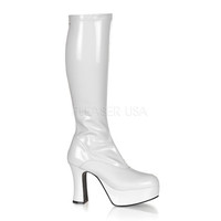White Stretch Patent Faux Leather GoGo Boots