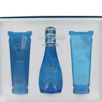 COOL WATER by Davidoff Gift Set — 3.4 oz Eau De Toilette Spray + 2.5 oz Body Lotion + 2.5 oz Shower Breeze Women
