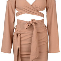 Rip Tide Nude Spaghetti Strap Long Sleeve Cut Out Shoulder V Neck Crop Tie Waist Two Piece Bodycon Mini Dress