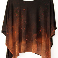 Bleached DipDyed CosmicStyle TShirt Black by KidsInLoveClothing