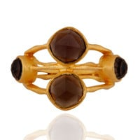 Smoky Quartz 925 Sterling Silver Handmade Designer Gold Vermeil Ring Women Gift