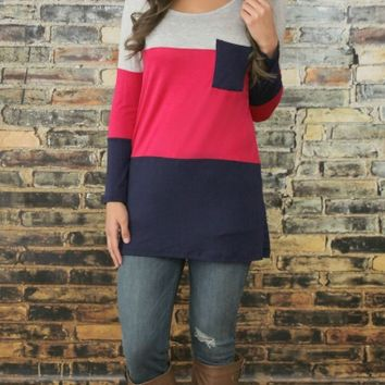 Casual Color Block Long Sleeve Single Pocket Sweater