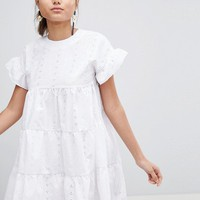 PrettyLittleThing Broderie Smock Dress at asos.com