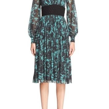 Fuzzi Floral Print Tulle Empire Waist Dress | Nordstrom
