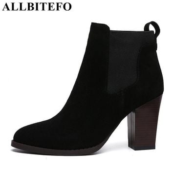 ALLBITEFO Factory on sale thick heel genuine leather Patchwork short women boots pointed toe fashion ankle boots martin boots