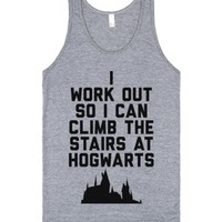 I Workout So I Can Climb the Stairs at Hogwarts-Athletic Grey Tank