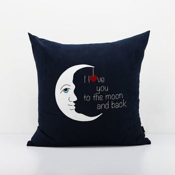 Moon pillowcase,Lover pillow, Decorative pillow,Valentine Gifts,Accent pillowcase,Handmade applique throw pillow,Custom pillow